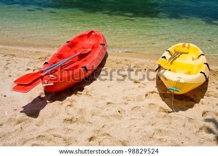 kayaks on the beach - stock photo