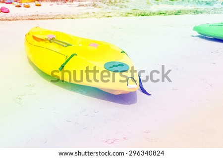 kayaks on the beach.,with filter colored. - stock photo