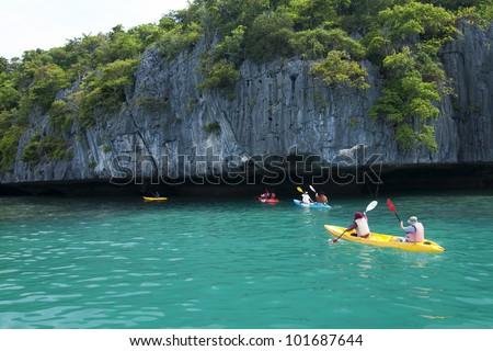 Kayaks on the sea - stock photo