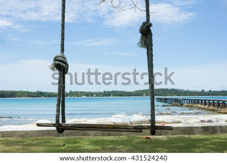Kayaks on the tropical beach, island,Thailand. - stock photo