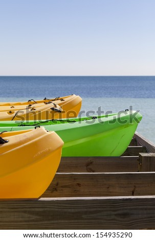 Kayaks ready for the summer - stock photo