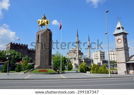 KAYSERI, TURKEY - JUNE 28 2015: Kayseri Republic Square is near Kayseri Castle and bronze statue of Ataturk, Clock Tower stand there.