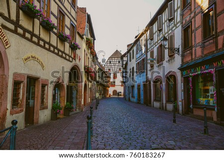 KAYSERSBERG, FRANCE - July 11, 2017: Peaceful atmosphere center of colmar city village in summer season travel luxury europe vacation famous tourist attraction, Kaysersberg, Alsace, France