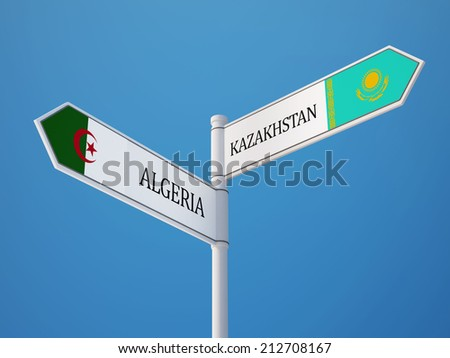 Kazakhstan Algeria High Resolution Sign Flags Concept