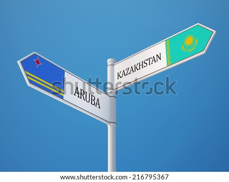 Kazakhstan Aruba High Resolution Sign Flags Concept
