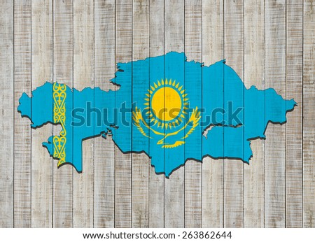 kazakhstan fag,map and wood background - stock photo