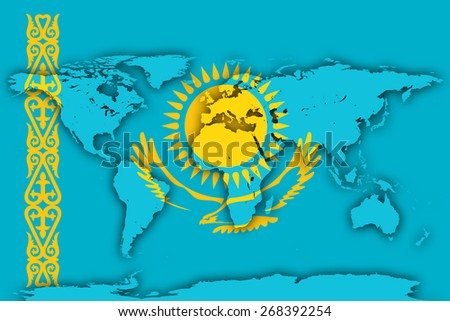 Kazakhstan flag and world map background - stock photo