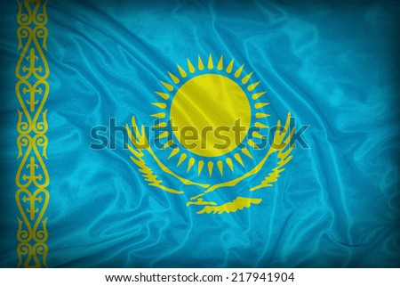 Kazakhstan flag pattern on the fabric texture ,vintage style - stock photo