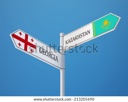 Kazakhstan Georgia High Resolution Sign Flags Concept