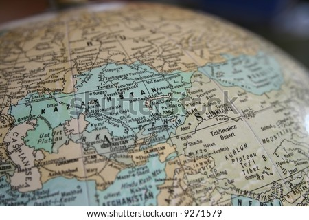 Kazakhstan Globe - stock photo