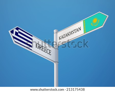 Kazakhstan Greece High Resolution Sign Flags Concept