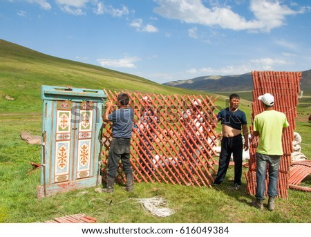 Kazakhstan in July 2014 construction of the yurt. a circular tent of felt or skins & Tent Assembly Stock Images Royalty-Free Images u0026 Vectors ...