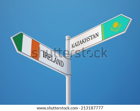 Kazakhstan Ireland High Resolution Sign Flags Concept