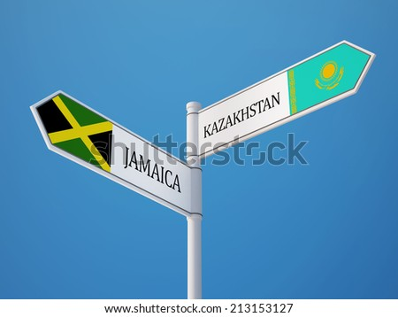 Kazakhstan Jamaica High Resolution Sign Flags Concept