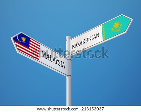 Kazakhstan Malaysia High Resolution Sign Flags Concept