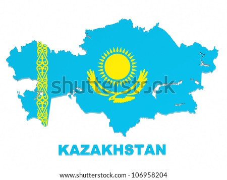 Kazakhstan, map with flag, isolated on white, with clipping path, 3d illustration - stock photo