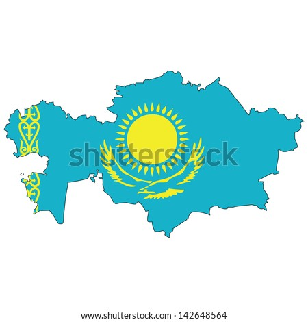 Kazakhstan map with the flag inside.  - stock photo