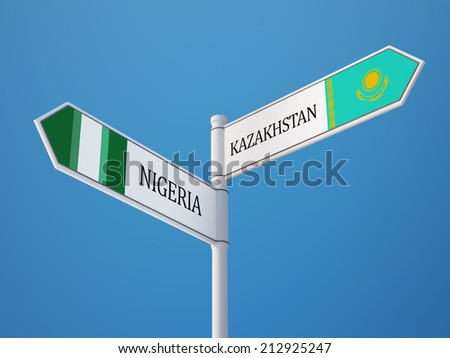 Kazakhstan Nigeria High Resolution Sign Flags Concept