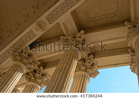 Kazan Cathedral -Cathedral of the Kazan Icon of the Mother of God-. Saint Petersburg, Russia. Portico of the cathedral.  - stock photo