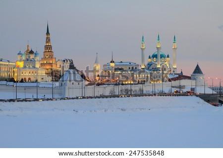 Kazan Kremlin in winter evening - stock photo