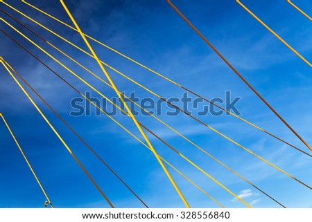Kazan Millenium bridge - yellow lines on the blue sky