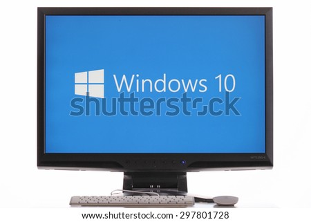 KAZAN, RUSSIA, July 4, 2015: Computer with Windows 10 logo. Windows 10 is the new version of Windows OS by Microsoft Corporation; it starting July 29, 2015. - stock photo