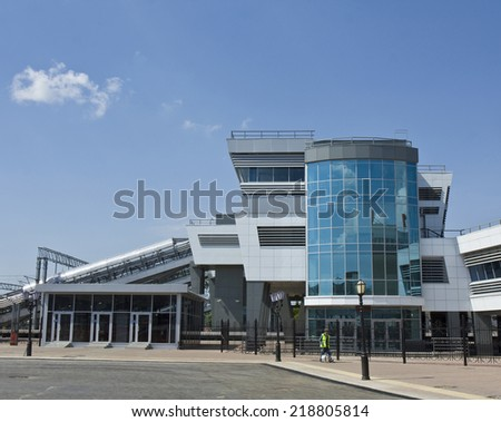 KAZAN, RUSSIA - JUNE 01, 2013: modern part of railway station in Kazan, capital of republic Tatarstan, has been built in 2005.