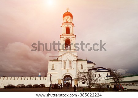 KAZAN, TATARSTAN, RUSSIA, Raif, bell tower of the church of the Archangel Michael - stock photo