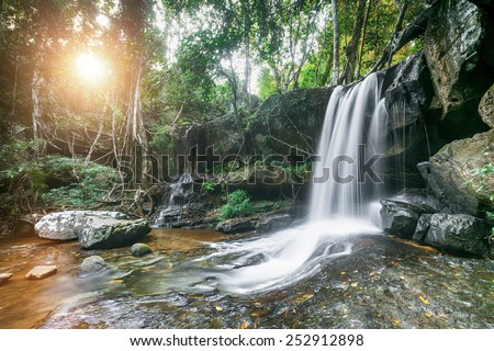 Kbal Spean in Siem Reap, Cambodia. Beautiful nature lsndscape with waterfall in jungles. - stock photo