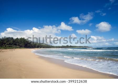 Kealia Beach, Kauai, Hawaii-1 - stock photo