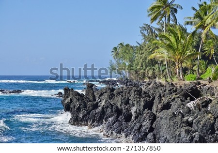 KEANAE, HI -1 APRIL 2015- The village of Keanae, on the rugged volcanic North Shore of Maui with giant waves crashing on black lava rocks, is located halfway on the famous Road to Hana.