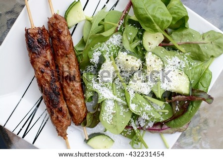 Kebab and salad