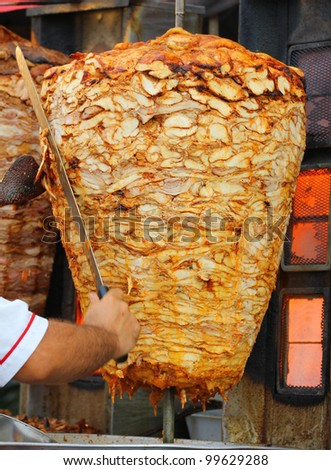 Kebab on it's special bbq cooking tray - stock photo