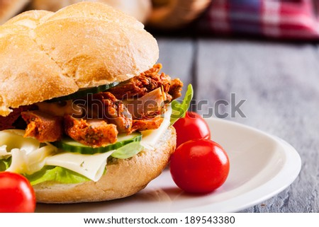 Kebab sandwich on a plate