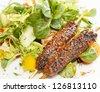 Kebab with salad - stock photo