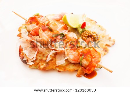 kebab with shrimps