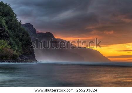 Kee Beach Sunset on Kauai, Hawaii - stock photo
