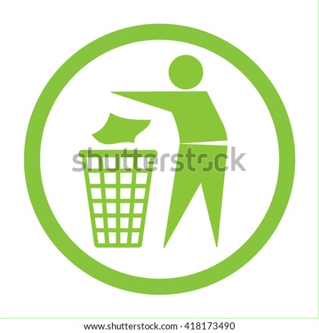 Keep clean icon. Do not litter sign. Silhouette of a man in the green circle, throwing garbage in a bin, isolated on white background. No littering symbol. Public Information Icon. illustration
