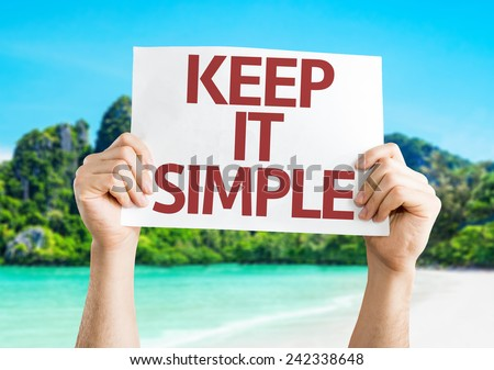 Keep It Simple card with a beach on background - stock photo