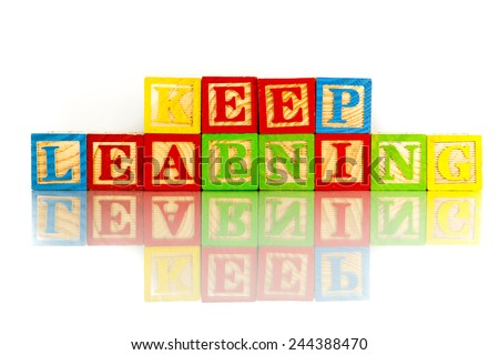keep learning words reflection on white background