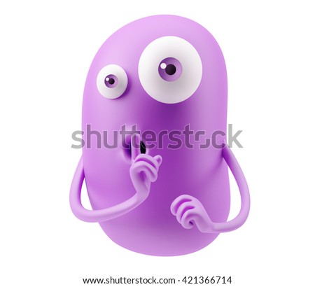 Keep Quiet Emoticon Face. 3d Rendering. - stock photo
