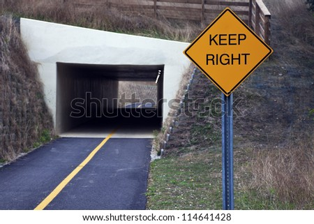Keep right. Sign for bikers in Cuyahoga Valley National Park. - stock photo