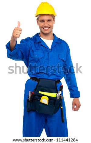 Keep up the good work. Sign from young repairman - stock photo