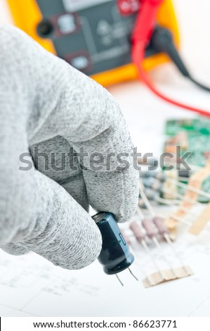 Keeping Component Electronic for check spec value - stock photo