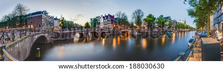 Keizersgracht canal, one of the tree main and most transitated canals in Amsterdam, Netherlands. - stock photo