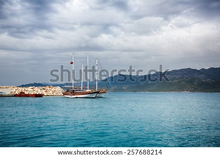 Kekova, Turkey, May 04 2014: View of the cruise touristic ship in the bay of Mediterranean sea