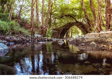 Kelefos Bridge. Most famous of the still remaining medieval bridges in Cyprus. Paphos district - stock photo