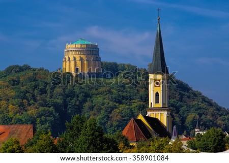 Kelheim in Germany, Hall of Liberation - stock photo