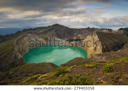 Kelimutu color lakes Volcano. Flores, Indonesia - stock photo