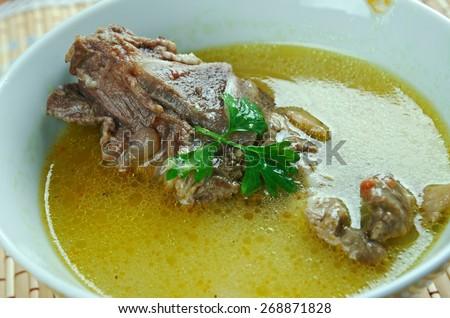 kelle-paca - liquid hot dish, soup, common in Azerbaijan, Iran and Turkey. - stock photo